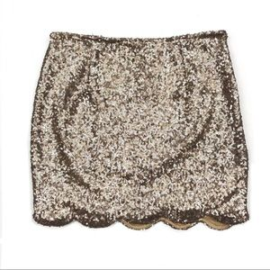 NWT Tobi Gold Dancing Queen Sequin Scalloped Skirt